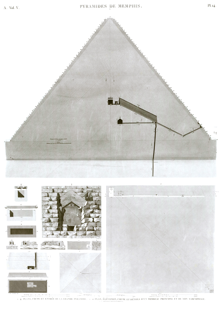Giza Pyramid Pl. 14 - 1-4. Plans, section and entrance to the Great Pyramid 5-10. Plan, elevation, section and details of a main tomb and its sarcophagus 11-15. Details of the surroundings Egypt
