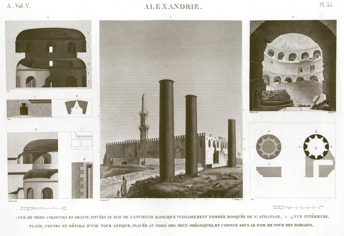 Pl.35 - 1. View of three granite columns, situated to the south of the old basilica popularly named Mosque of St. Athanasius 2-9. Interior view, plans, sections and details of an ancient tower, located north of the two obelisks and known as the Tower of the Romans