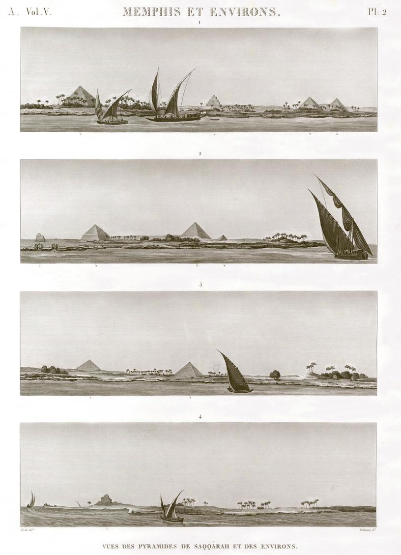 Pl.2 - View of the pyramids of Saqqara and surroundings