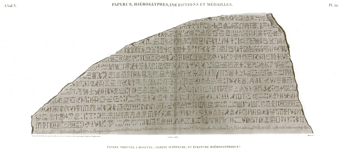 Pl. 52 - Stone found in Rosetta, (upper part, in hieroglyphic writing)
