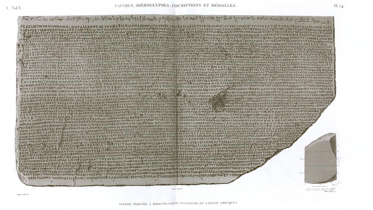 Pl. 54 - Stone found in Rosetta, (lower part, in Greek language)