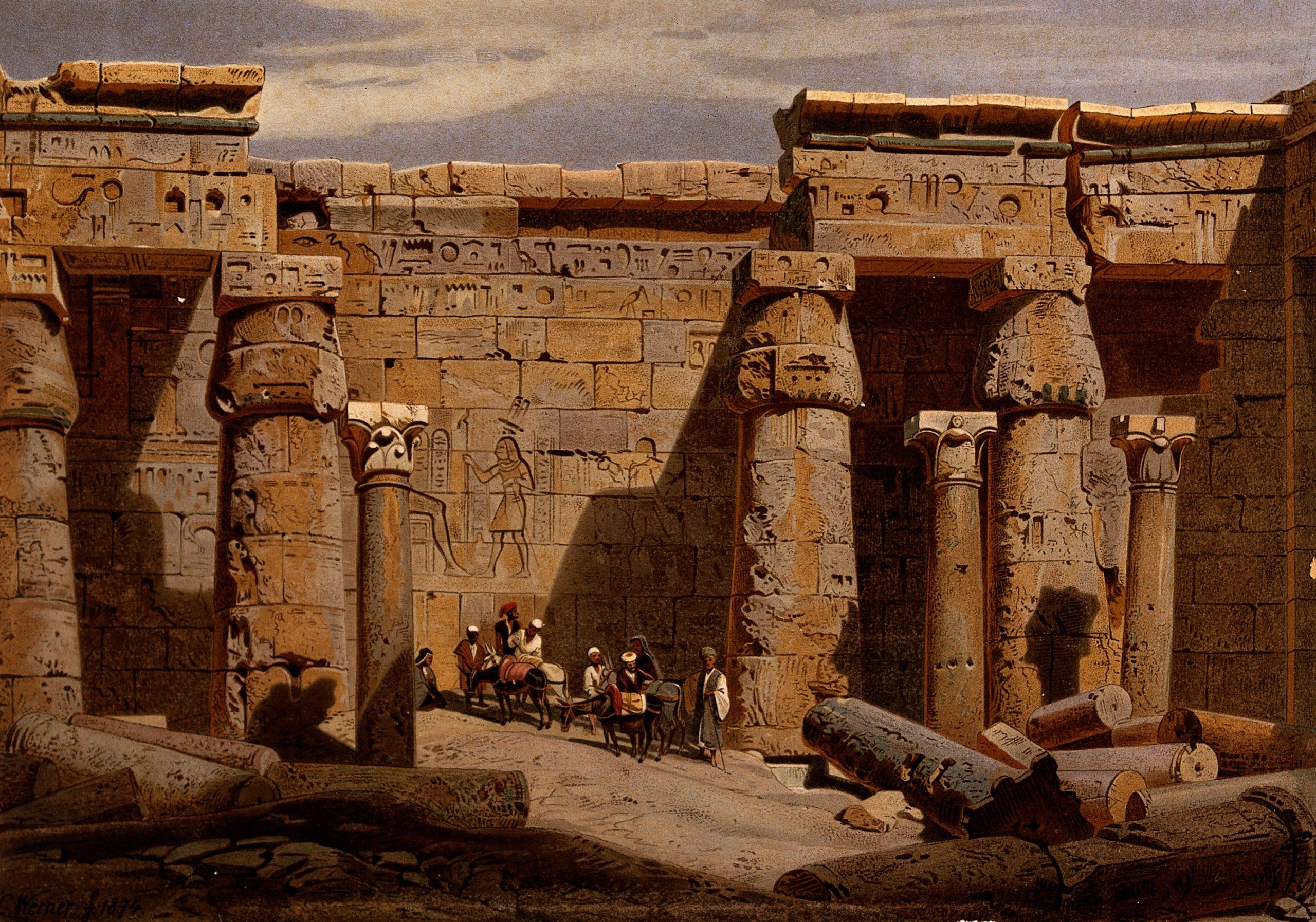 Egypt: court of the Medinet-Habu temple - Carl Werner, 1874
