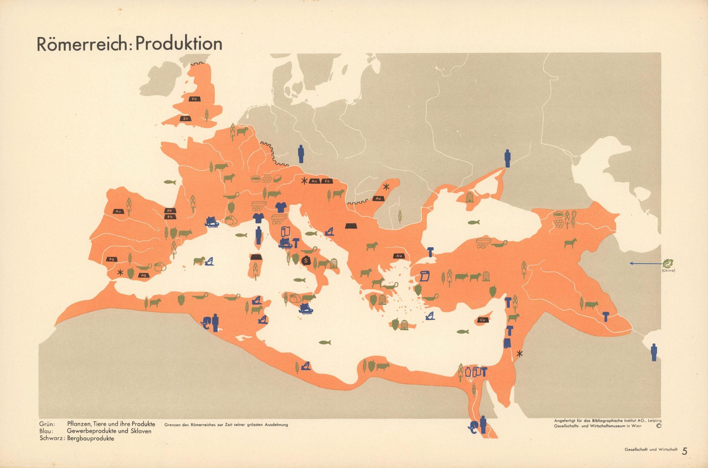 Römerreich: Produktion. (Roman Empire: production) Isotype Otto Neurath