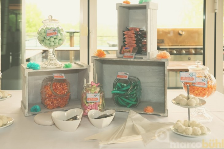 Candy Bar in pfirsich türkis Hochzeit