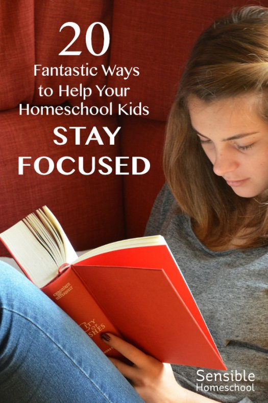 20 Fantastic Ways to Help your Homeschooler Stay Focused girl reading book on sofa