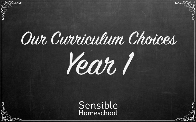 sensible homeschool our curriculum choices year one on chalkboard background