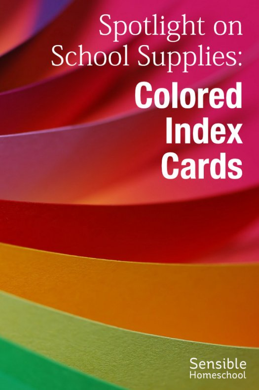 Spotlight on School Supplies: Colored Index Cards on colored paper background