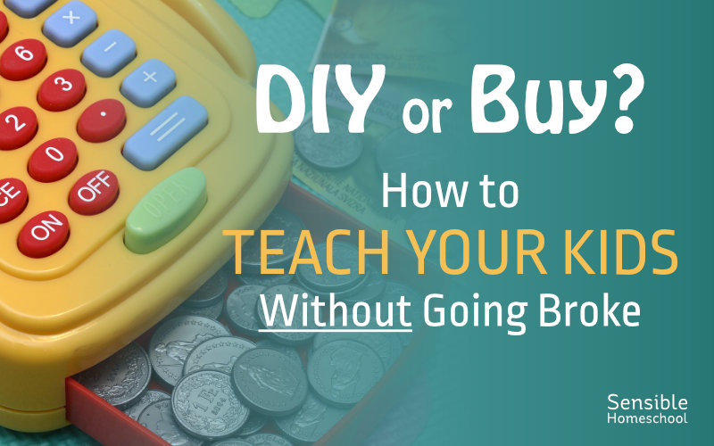 DIY or Buy? How to teach your kids without going broke on kid's cash register gradient background