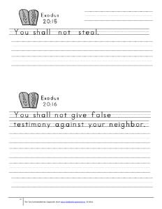 primary lines 10 commandments copywork
