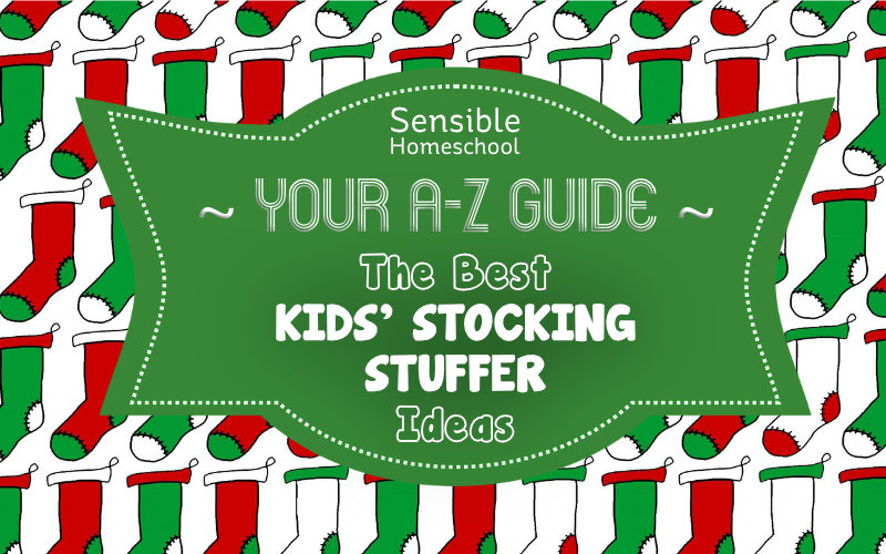Your A-Z Guide: The Best Kids' Stocking Stuffer Ideas on green banner with stocking background