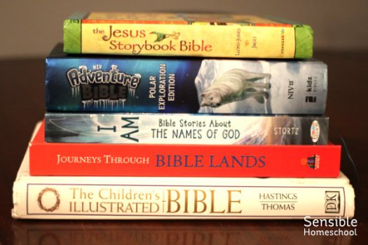 stack of Bible and kids' Bible study books
