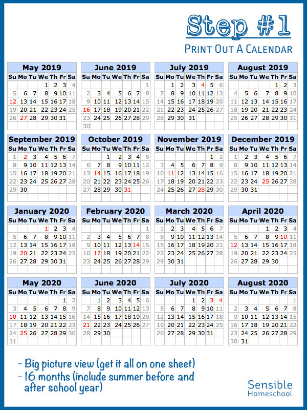 Step 1: Print Out A Calendar heading with 16 mini-month calendars in one image