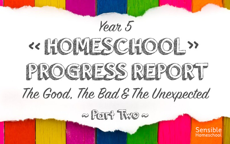 Year 5 Homeschool Progress Report The Good The Bad The Unexpected Part two on colored background