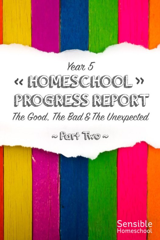 Year 5 Homeschool Progress Report The Good, The Bad & The Unexpected - Part Two title on colored stripe background