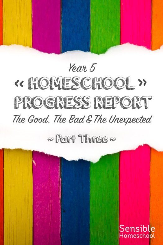 Year 5 Homeschool Progress Report The Good, The Bad & The Unexpected - Part Three title on colored stripe background