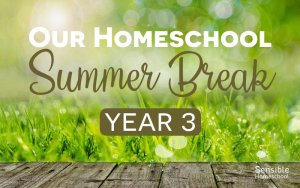 Our Homeschool Summer Break Year 3 on grass background