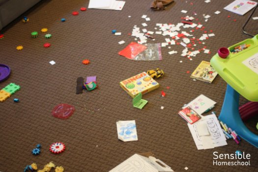 mess of toys strewn all over brown carpet