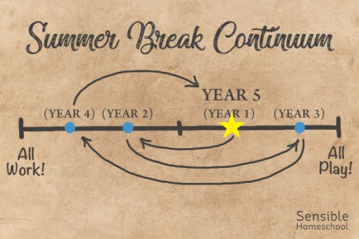 """Summer Break Continuum showing Year 5 on """"All Play"""" end of chart"""