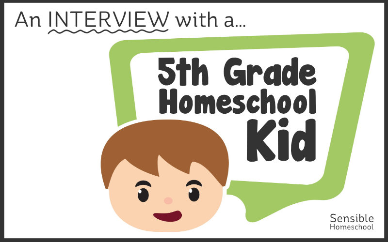 An interview with a 5th Grade Homeschool Kid title with cartoon child speech bubble