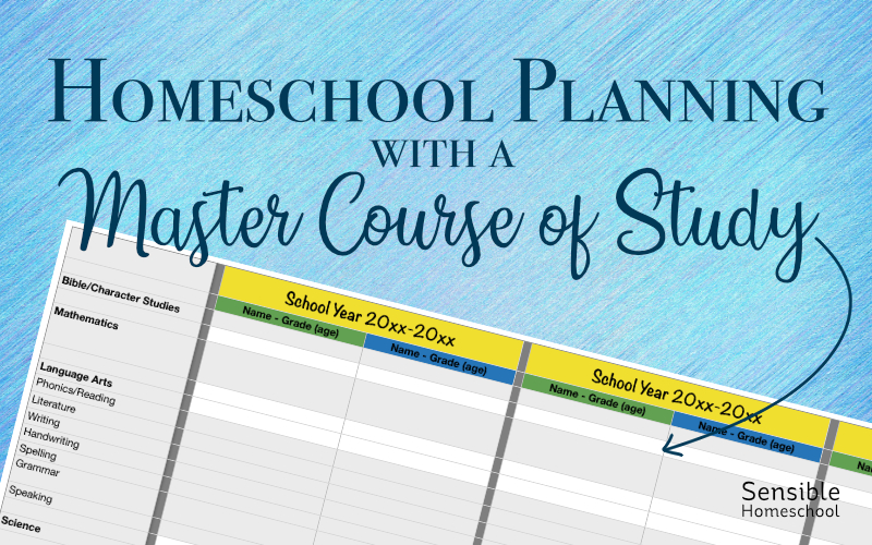 Homeschool Planning with a Master Course of Study title with partial spreadsheet