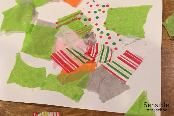 Tissue paper collage made by three year old