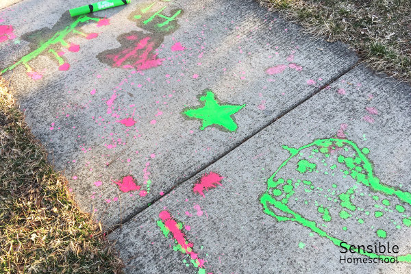 Sidewalk chalk paint on a cold day