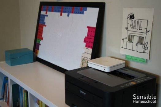 homeschool room spelling whiteboard and printer