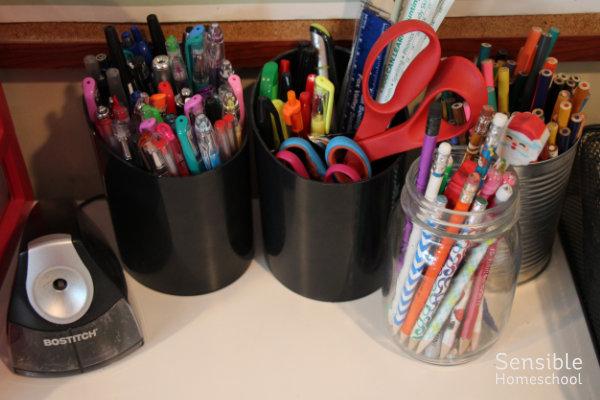 homeschool supplies - pencils, pens, scissors, pencil sharpener