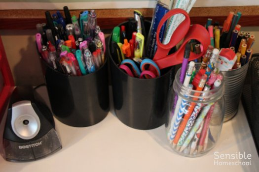 homeschool supplies - pencils, pens, scissors, pencil sharpener