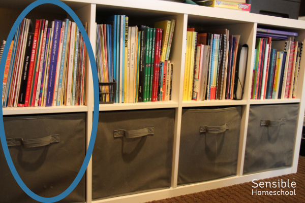 Homeschool shelves with math curriculum area circled