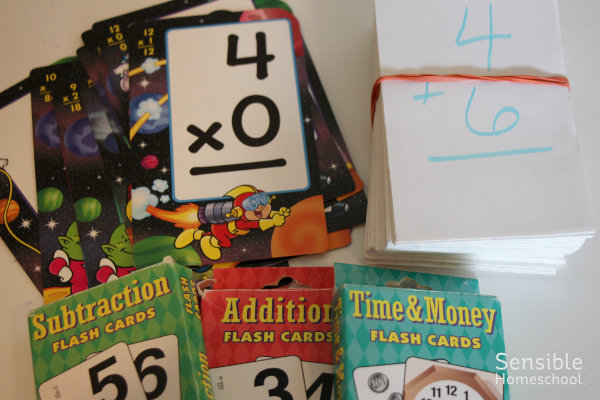 Homeschool math flash cards