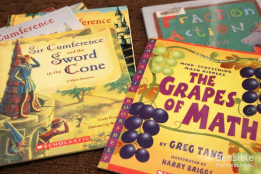 math literature books, Sir Cumference and The Grapes of Math and Fraction Action
