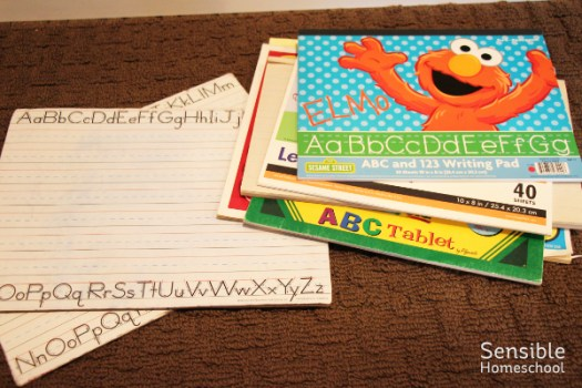 homeschool writing supplies - whiteboards and primary writing paper