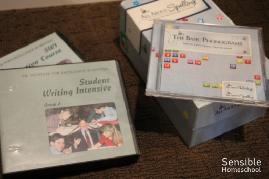 IEW and All About Spelling discs and non-book resources for homeschooling