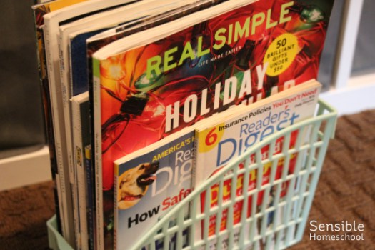 homeschool supplies old magazines for collages, art projects and crafts