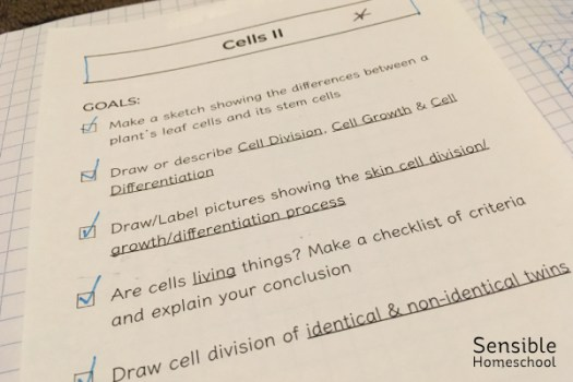 Homeschool science notebook goals sheet for Cells lesson