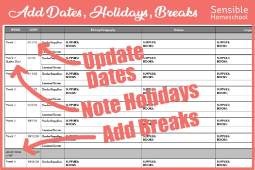 Homeschool lesson planning spreadsheet noting updated dates, holidays and break weeks