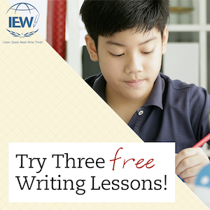 IEW Free writing lessons ad