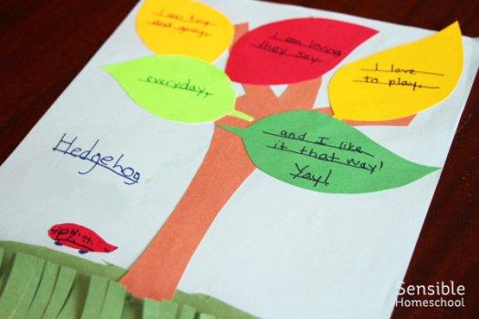 Student sample of poetry craft project entitled Hedgehog