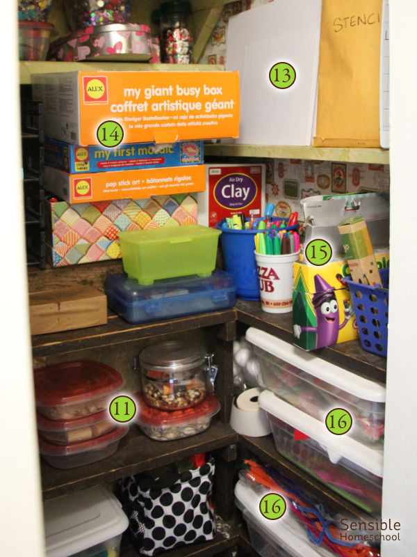 Homeschool art supply closet pens, beans, foam stickers, pipe cleaners, canvas