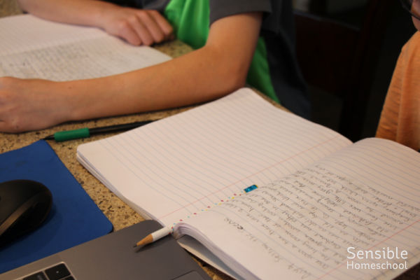 Two homeschool boys with writing notebooks