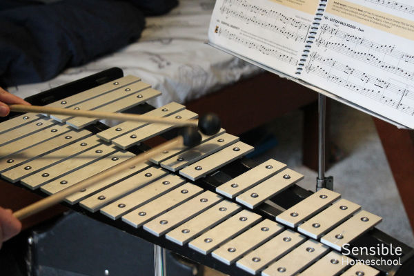 Homeschool student practicing percussion for band