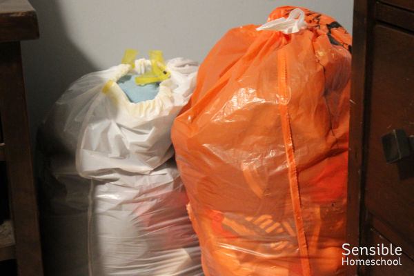 Bags of clothing for donation and recycling