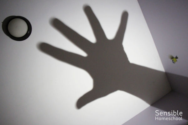 Shadow puppet game - large shadow hand on ceiling