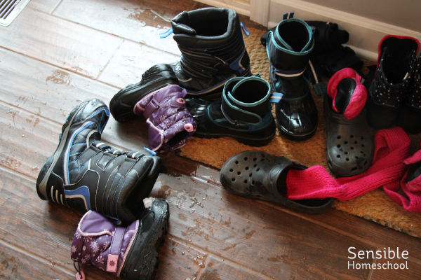 Messy wet snow boots