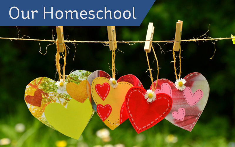 Our Homeschool header - DIY hearts on string