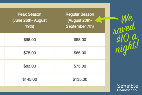 Shoulder season pricing list - we saved $10 per night
