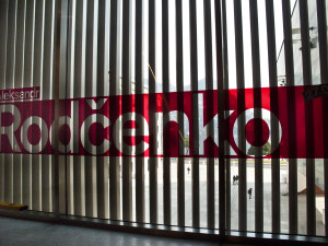 scritta all'ingresso mostra Rodcenko