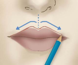 82 Realizzazione del contorno labbra a matita.