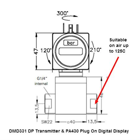 90 degC air differential pressure transmitter and digital display